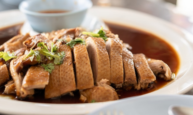 Roasted duck in thai style for chinese new year dinner meal