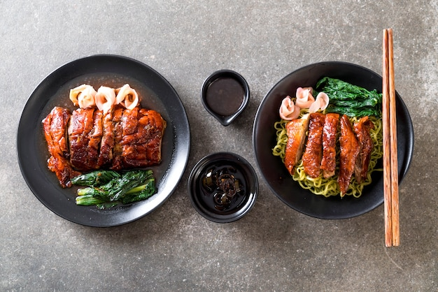Roasted duck with vegetable noodles