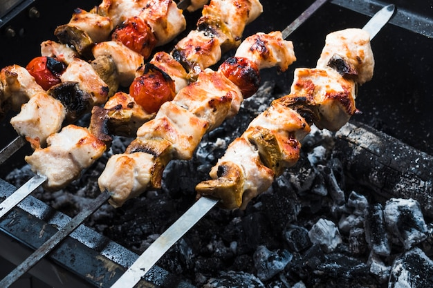 Roasted on grill shish kebabs