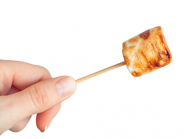 Roasted marshmallows on a skewer on white