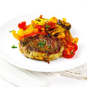 Roasted meat steak with veggies