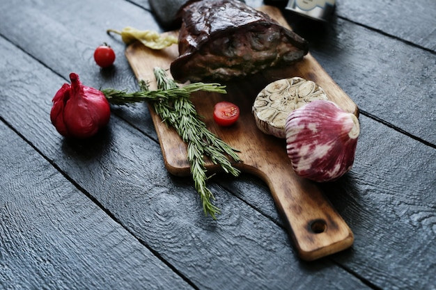 Roasted meat with spices