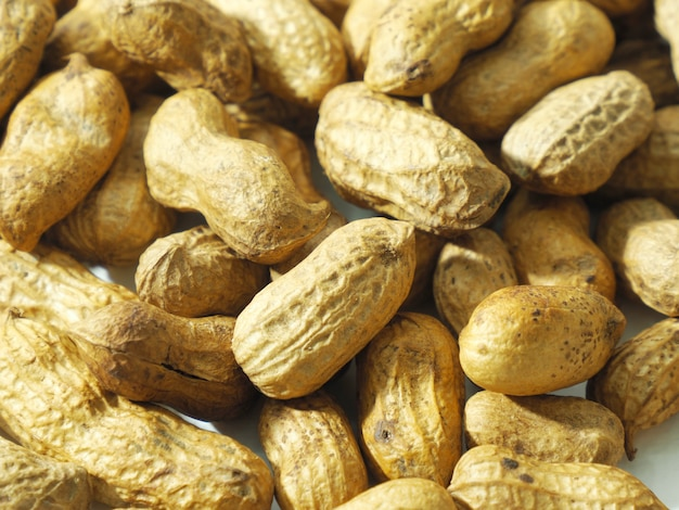 Roasted peanuts for eating in white background