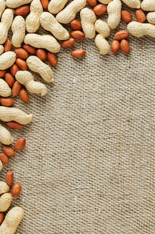 Roasted peanuts in a shell and peeled on a brown fabric background.