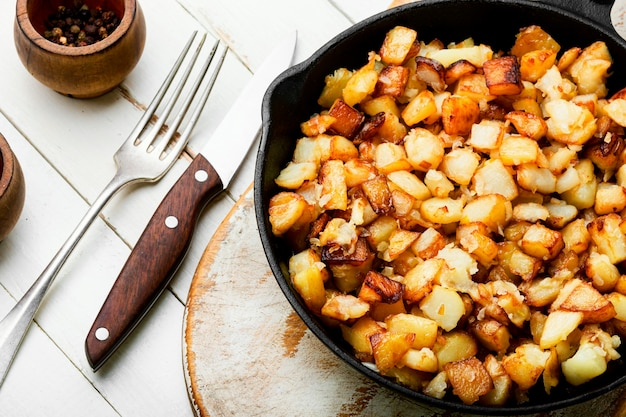 Roasted potatoes in iron skillet