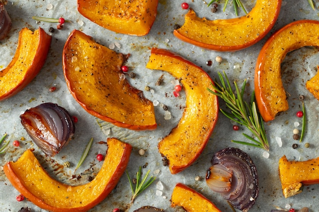 Roasted pumpkin with addition aromatic herbs.