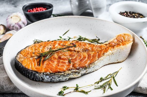 Roasted salmon steak. healthy seafood. top view