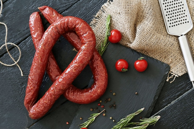 Roasted sausages with ingredients