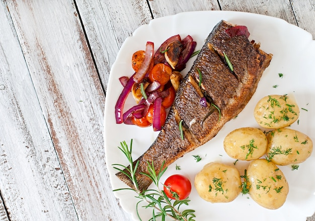 Roasted seabass with vegetables