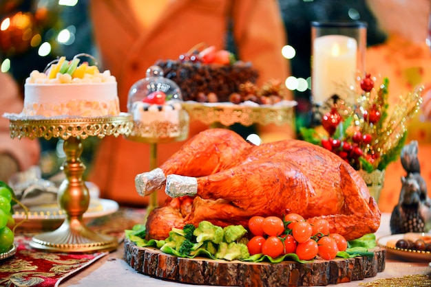 Roasted turkey.table served with turkey in christmas dinner