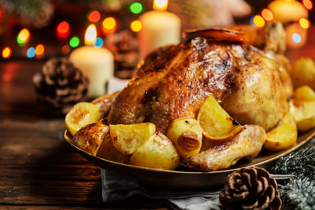 Roasted turkey with potatoes