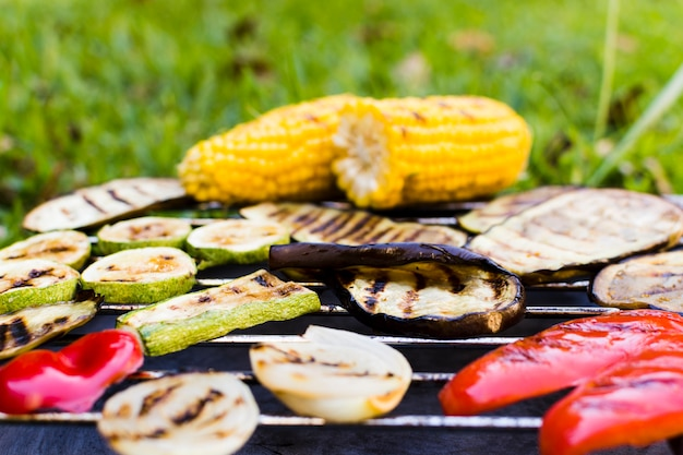 Roasted vegetables on hot grill during picnic