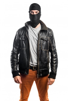 Robber wearing a leather jacket