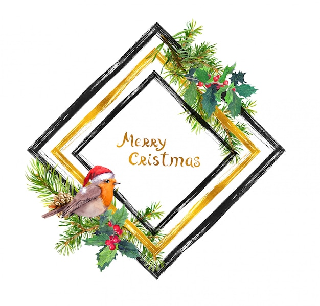Robin bird in red santa hat, christmas tree branches with cones frame