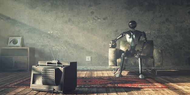 로봇과 그의 죽은 주인은 종말 이후의 세계에서 tv를보고있다