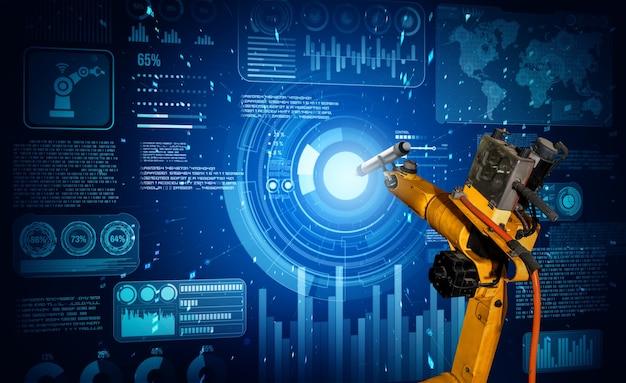 Ии-робот-манипулятор анализирует математику для решения задач механизированной промышленности Premium Фотографии