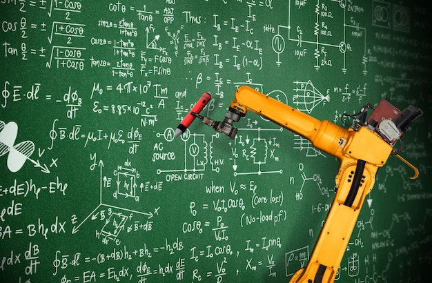 Robot arm ai analyzing mathematics for mechanized industry problem solving