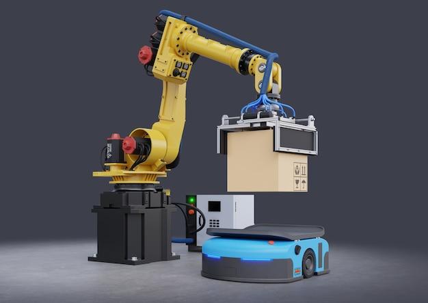 Концепция руки робота поднимает коробку до автоматизированного управляемого транспортного средства (agv), 3d-рендеринг