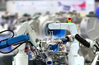 Robot arm Engine production Industrial 4.0 of things technology using controller