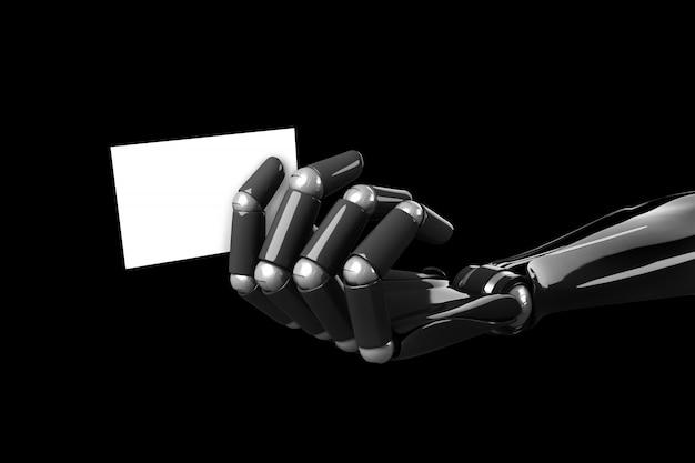 The robot arm feeding a blank business card
