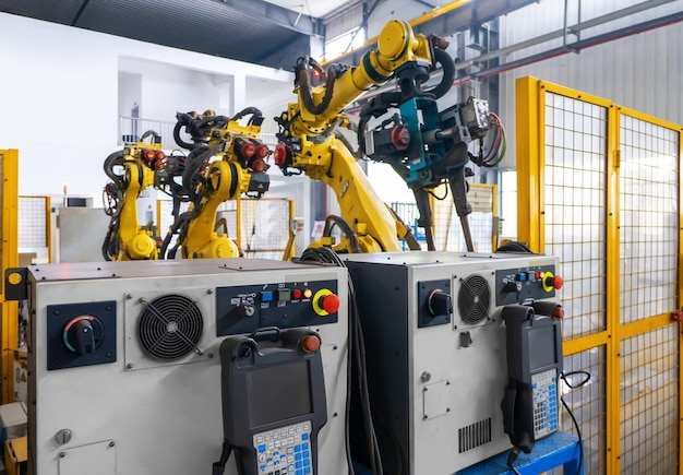 The robot arm is on the production line