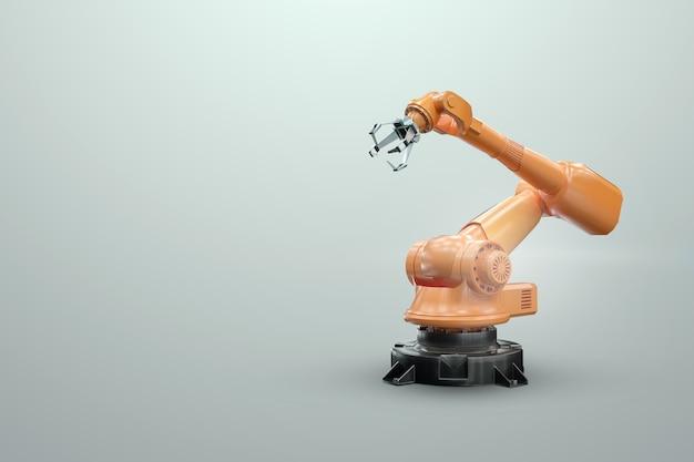 Робот-манипулятор на заводе. технология промышленной автоматизации. концепция технологии iot, умная фабрика. цифровое производство. 3d-рендеринг, 3d-иллюстрация.