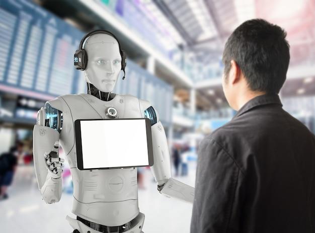 Концепция робота-помощника с 3d-рендерингом гуманоидного робота с пустым экраном планшета общается с человеком
