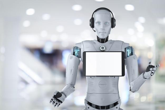 Концепция робота-помощника с 3d-рендерингом гуманоидного робота с пустым экраном планшета
