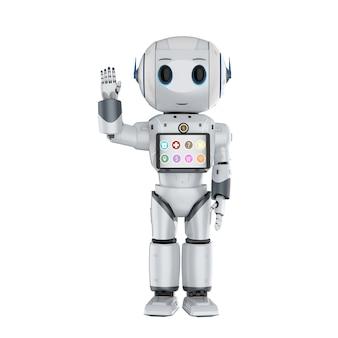 Робот-помощник с 3d-рендерингом милый робот с цифровым планшетом
