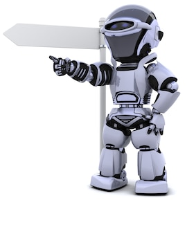 道標でロボットのレンダリング3d