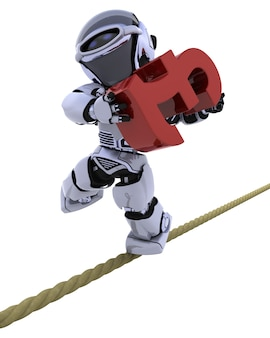 Robot balancing on a tight rope with pound symbol