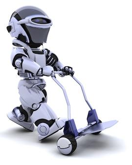 Robot carrying a wheelbarrow Free Photo