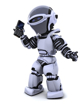 Robot character with a smart phone