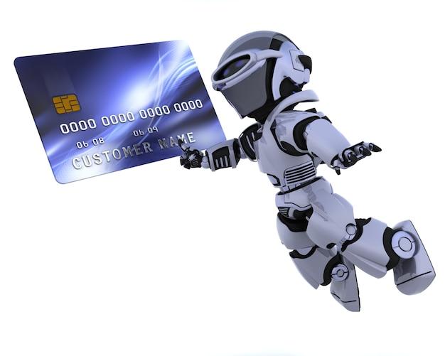 3d rendering di una carta di robot e di carica