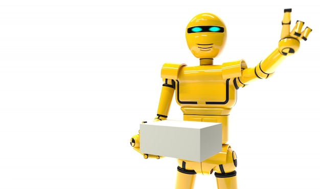 Robot courier future delivery service. yellow android