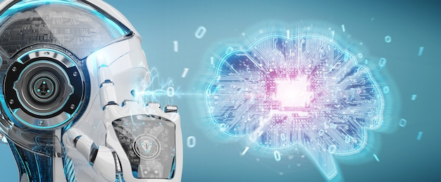 Robot creating artificial intelligence in a digital brain