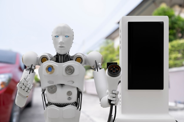 Robot cyber future futuristic humanoid hi tech industry garage ev-car charger recharge refuel electric station vehicle transport transportation future car customers for transport automotive automobile