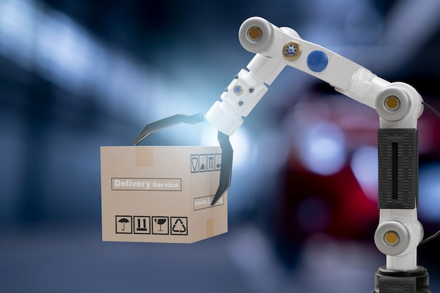 Robot cyber future futuristic humanoid hold box product technology engineering device check, for industry inspection inspector transport maintenance robot service technology 3d rendering