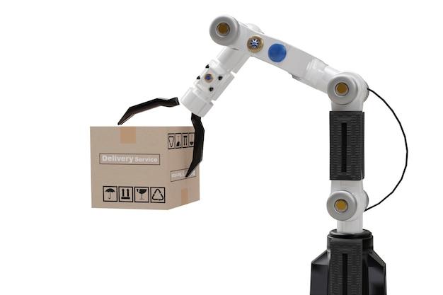 Robot cyber future futuristic humanoid hold box