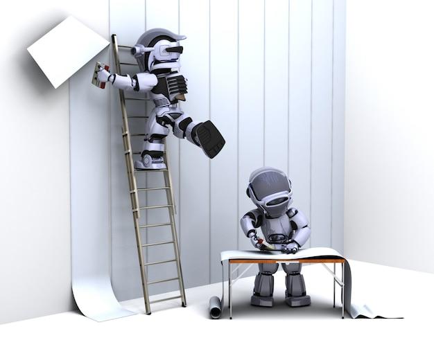 Робот украшает обоями