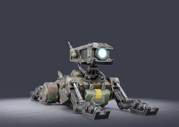 어둠에 로봇 개. 3d 렌더링