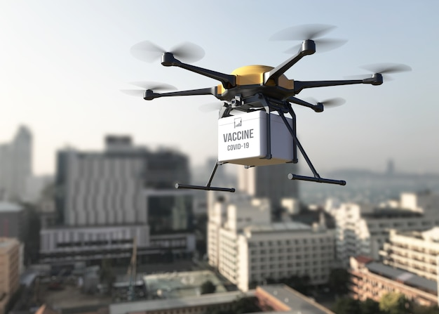 Robot drone delivery packages containing covid19 vaccine