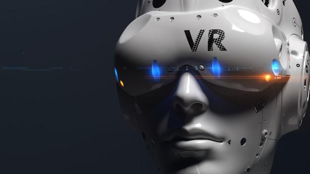 Vrメガネをかけたロボットの顔。 vrエンターテインメント、オンラインゲームをテーマにしたイラスト