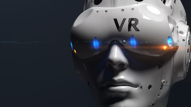 Robot face with vr glasses. illustration on the theme of vr entertainment, online games
