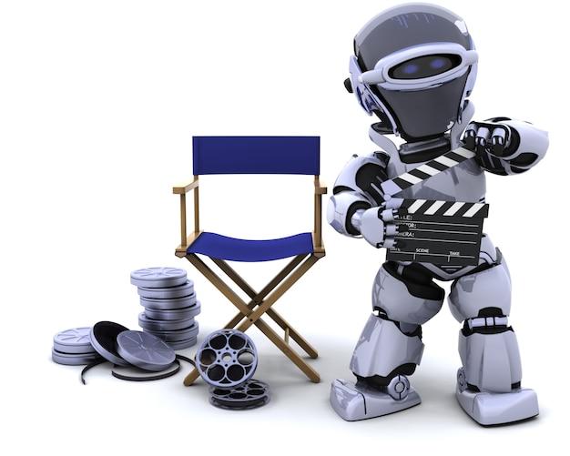クラッパーボードとフィルムのリールとロボットのレンダリング3d