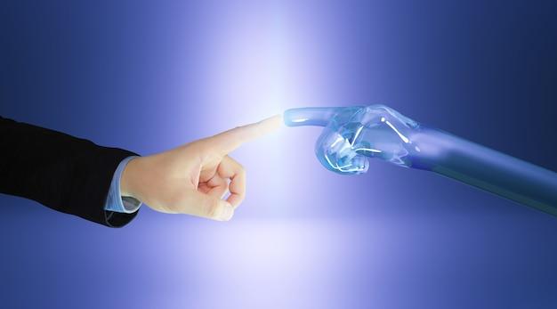 ロボットの指が人間の指に触れます。 3dレンダリング