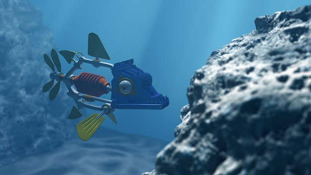 Robot fish in the deep water, 3d rendering