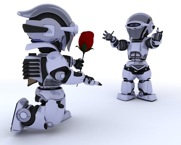 Робот дает красную розу другому роботу