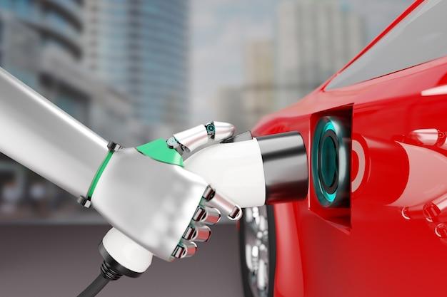 로봇 핸드 홀드 충전기 플러그는 전력을 충전하기 위해 전기 자동차 자동차에 연결됩니다. 3d 일러스트 이미지입니다.