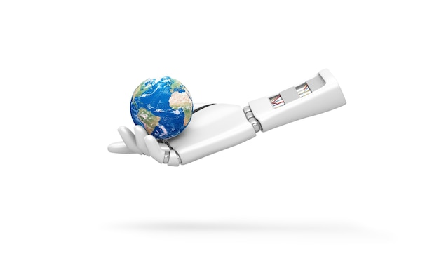 Robot hand holding miniature earth planet isolated on white background